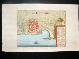 Gabriel Bodenehr C1725 Antique Hand Col Town Plan Map. Palermo, Sicily, Italy